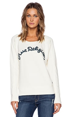 True Religion Embroidered Sweatshirt in Winter White