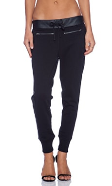 True Religion Leather Panel Zip Pant in Black