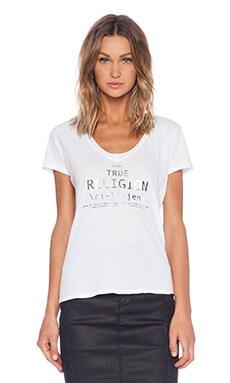 True Religion Relaxed V Neck Tee in White