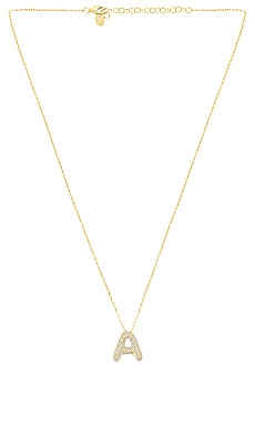 Pave Bubble Letter Pendant Necklace The M Jewelers NY $120