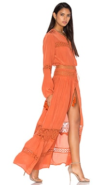 Cut Out Lace Maxi Dress in Rust