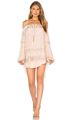 Tessora Embellished Off Shoulder Dress in Pale Pink