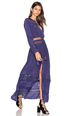 Cut Out Lace Maxi Dress in Navy