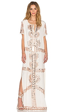Tessora Long Slim Caftan in White & Rose Gold