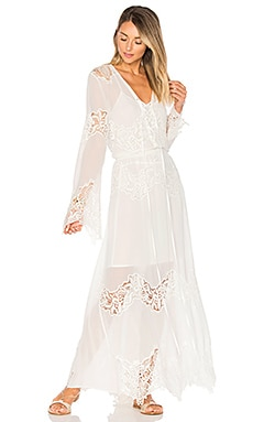 Lace Up Maxi Dress in White
