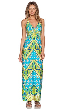 Trina Turk Woodblock Floral Maxi Dress in Pool