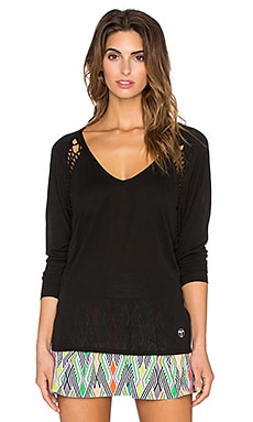 Trina Turk Draped Jersey Dolman Long Sleeve Top in Black