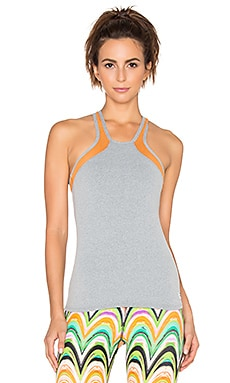 Trina Turk Heathered Mesh Solids Mesh Back Tank in Grey & Tangerine
