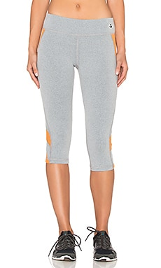 Trina Turk Heathered Mesh Solids Mid Length Leggings in Grey & Tangerine