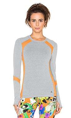Trina Turk Heathered Mesh Solids Mesh Back Long Sleeve Top in Grey & Tangerine