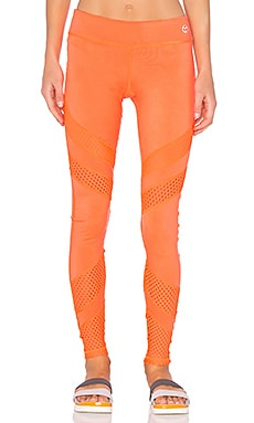 Lazer Cut Solids Legging in Neon Coral
