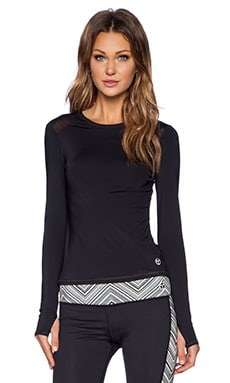 Trina Turk Active Mesh Back Long Sleeve Top in Black
