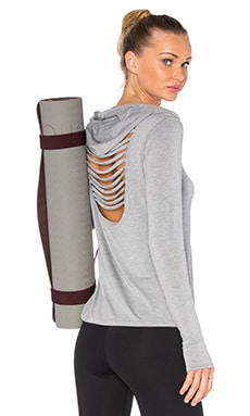 Trina Turk Long Sleeve Hooded Tee in Heather Grey
