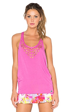 Trina Turk Laser Cut Tank in Pink Berry