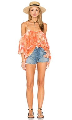 Wren Cold Shoulder Top in Coral