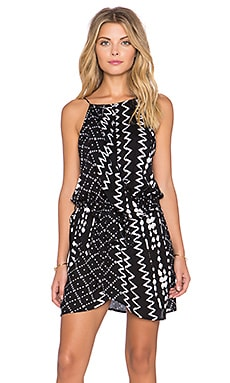 Tularosa Dani Drape Halter Dress in Black & White