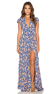 Tularosa Sid Wrap Dress in Navy & Peach Floral