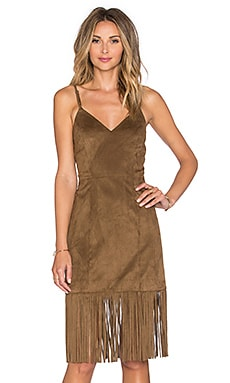 Tularosa Lucky Fringe Dress in Camel