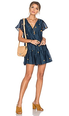 Carson Dress in Navy & Gold
