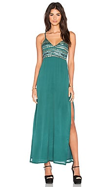 Tularosa Lena Plunge Maxi Dress in Emerald
