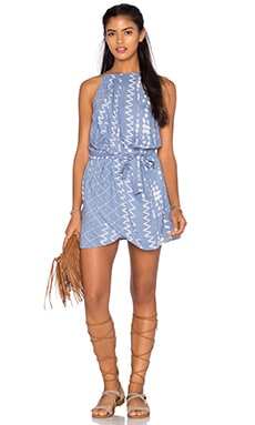 Tularosa Dani Drape Halter Dress in Chambray