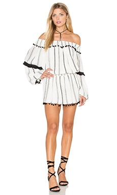 Jacqueline Tunic Dress in Ivory Striped Tribal