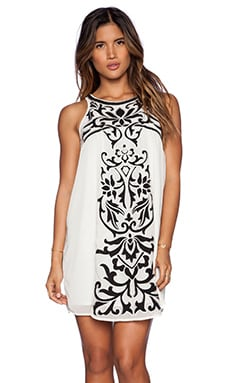 Tularosa Roman Applique Mini Dress in Ivory