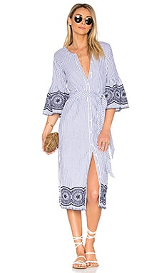 x REVOLVE Halo Midi Dress in Navy Pinstripe
