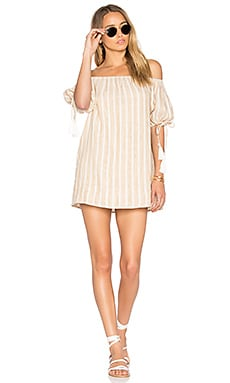 x REVOLVE Kya Dress in Natural Stripe Linen