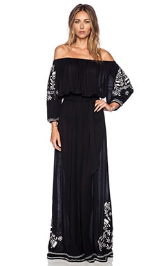 Tularosa Vivianne Embroidery Dress in Black