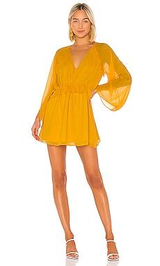 Tibi Solid Silk Wrap Dress En Mustard Revolve