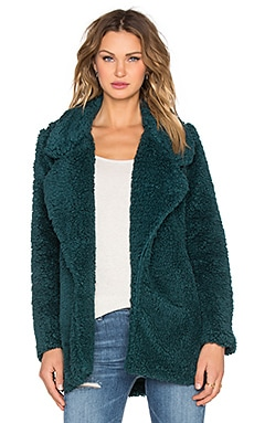 Tularosa x REVOLVE Violet Faux Shag Coat in Dark Green
