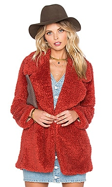 Tularosa Violet Faux Fur Coat in Rust