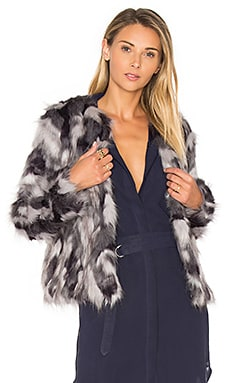 x REVOLVE Averly Faux Fur Coat on Grey & Black