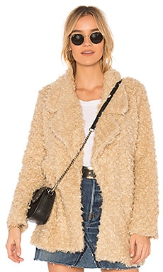 Tularosa Violet Faux Shag Coat in Cream