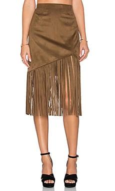 Tularosa Donna Fringe Skirt in Camel