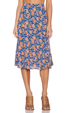 Tularosa Allister Skirt in Navy & Peach Floral