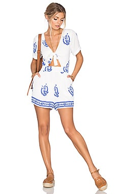 x REVOLVE Rowley Romper in Blue Medallion