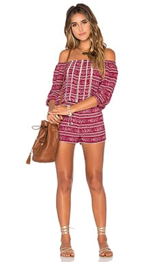 Tularosa x REVOLVE Rosa Romper in Red Border