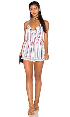 Tularosa Amelia Romper in Blue & Red Stripe