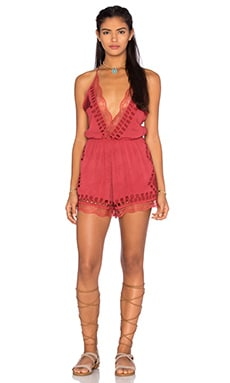 Tularosa Charmer Plunge Romper in Rusted Cherry