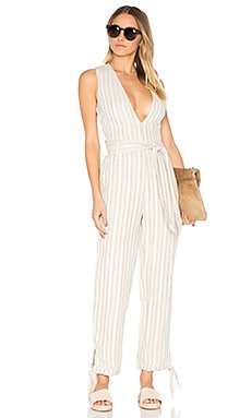 x REVOLVE Reese Jumpsuit in Natural Stripe