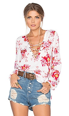 Tularosa x REVOLVE Lace Up Blouse in Fuchsia Bloom