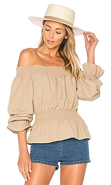 x REVOLVE Katie Blouse in Taupe