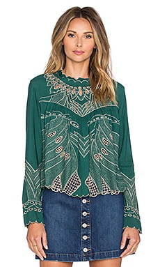 Tularosa Roxy Embroidered Top in Emerald