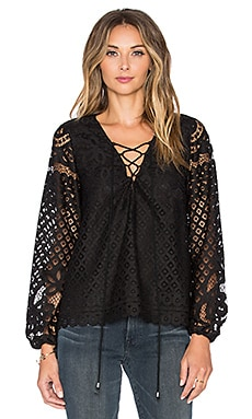 Tularosa x REVOLVE Lace Up Blouse in Black