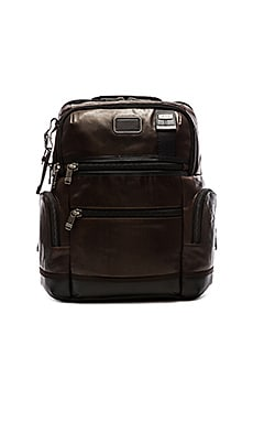 Tumi Alpha Bravo Leather Knox Backpack in Dark Brown