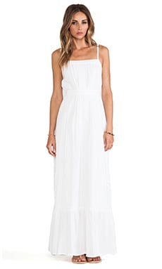 Lace Inset Maxi Dress in White