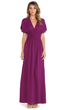 Twelfth Street By Cynthia Vincent Smocked Maxi Dress in Berry