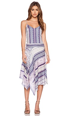 Twelfth Street By Cynthia Vincent Assymentrical Dress in Indigo Stripe